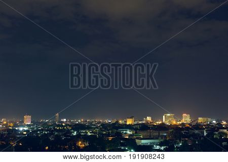 Landscape City Night With Dramatic Moody Dark Sky