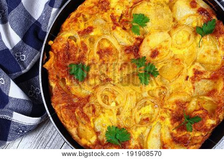 Delicious Authentic Spanish Tortilla In Skillet