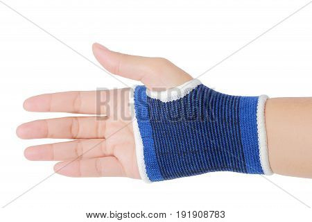 Close up of right female hand with blue wrist isolated on white background clipping path.