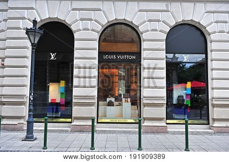 BUDAPEST HUNGARY - JUNE 4: Facade of Louis Vuitton flagship store in the street of Budapest on June 4 2016.