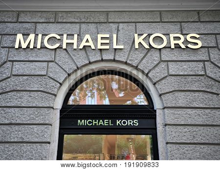BUDAPEST HUNGARY - JUNE 4: Facade of Michael Kors flagship store in the street of Budapest on June 4 2016.