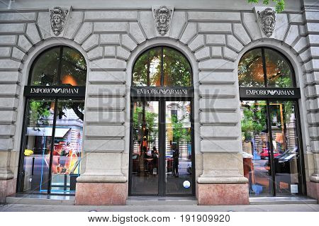 BUDAPEST; HUNGARY - JUNE 4: Facade of Emporio Armani flagship store in the street of Budapest on June 4; 2016.