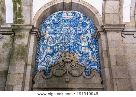 Porto Portugal - December 8 2016: Ceramic tilework of Porto Cathedral loggia in Porto