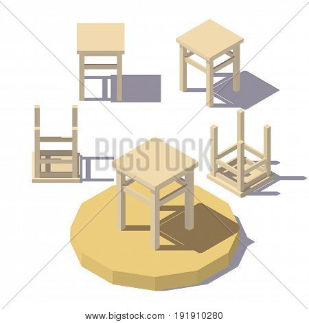 Vector isometric low poly Stool. Vector flat illustration