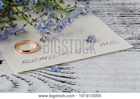 Forget me not flower on anв love note