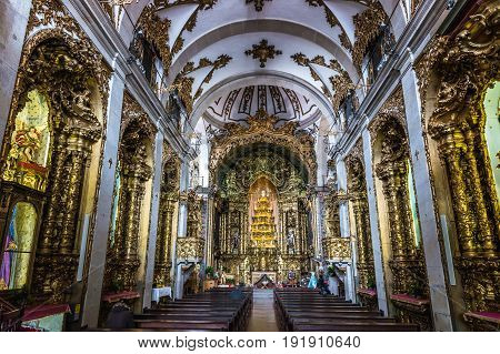 Porto Portugal - December 8 2016: Interior of famous Carmelite Church in Porto city