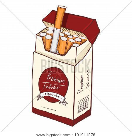 Vector Cartoon Box Of Cigarettes. Premium Tobacco.