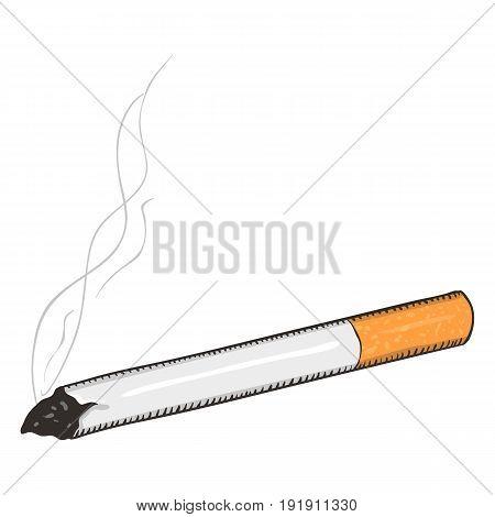 Vector Single Cartoon Cigarette With Orange Filter