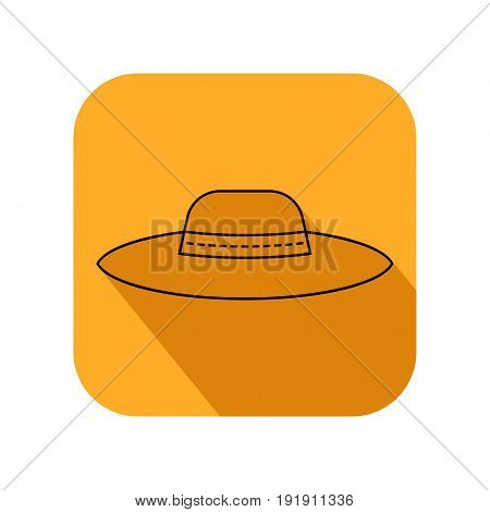Sun hat, protective clothing. Flat icon, object of fashion accessory. Illustration