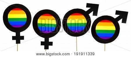 Homosexuality and gay pride banner. Gender symbols with LGBT and rainbow flag colors. Homosexual and lesbian couple. Sexual minority concept. Four cardboard signs on wooden sticks and white background