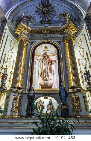 Porto Portugal - December 9 2016: Jesus statue in Congregates Church also know as Church of Saint Anthony in Porto city