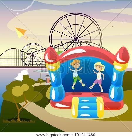 Children summer activities. Children in park. Vector illustration