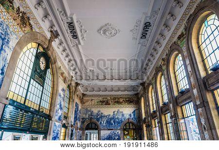 Porto Portugal - December 9 2016: Main hall of Sao Bento railway station in Porto city