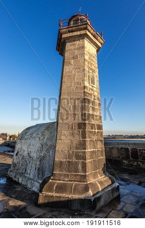 Porto Portugal - December 9 2016: Felgueiras Lighthouse in Porto city