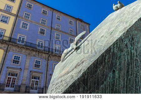Porto Portugal - December 11 2016: Cube scultpure on Ribeira Square in Porto