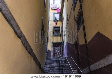 Porto Portugal - December 11 2016: Narrow stairs passageway in Porto city