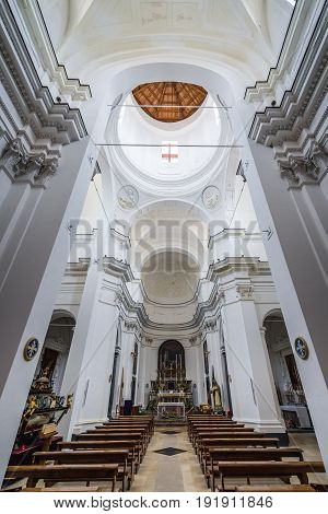 Syracuse Italy - December 14 2016: Saint Philip the Apostle old church on the Ortygia isle - old town of Syracuse on Sicily island