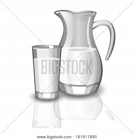 Milk carafe, cup of milk. Milk in a container on white background
