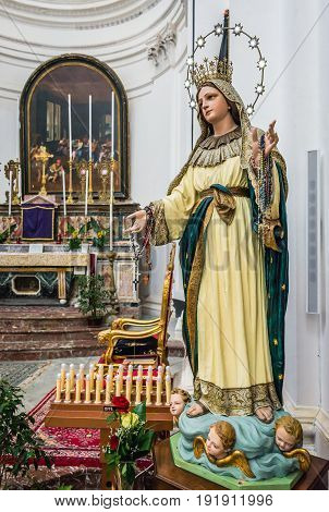 Syracuse Italy - December 14 2016: Statue in Saint Philip Apostle Church on Ortygia isle Syracuse city Sicily Island
