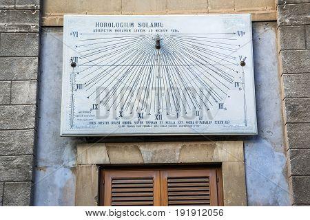 Catania Italy - December 16 2016: Sundial in Catania on Sicily Island