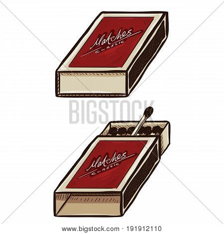 Vector Set Of Two Cartoon Matchboxes. Open And Closed.
