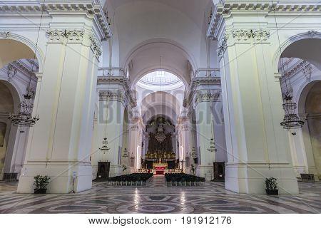 Catania Italy - December 17 2016: Benedictine Monastery of San Nicolo l'Arena Church in Catania Sicily Island of Italy