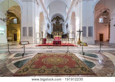 Catania Italy - December 17 2016: Interior of Benedictine Monastery church in Catania on the island of Sicily