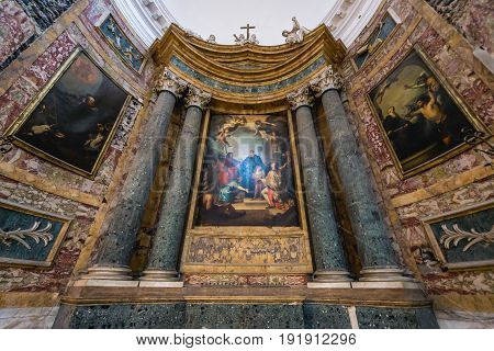 Catania Italy - December 17 2016: One of bye altars of Benedictine Monastery of San Nicolo l'Arena Church in Catania Sicily Island