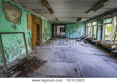 Prpyat Ukraine - September 21 2016: Inside the school in abandoned Pripyat city in Chernobyl Exclusion Zone