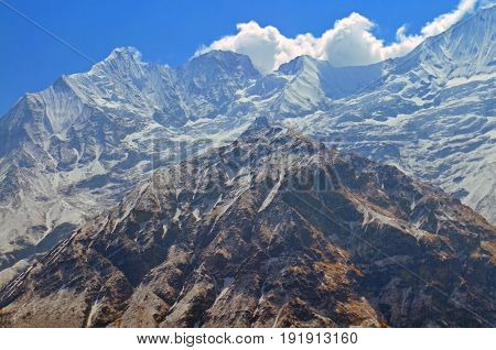 Mountain Wall Landscape in Himalaya. Nepal, Annapurna Base Camp Track.