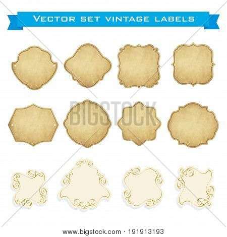 Set of vintage frames for emblems labels insignia