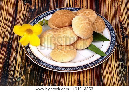 Thai sweet soft biscuitThai sweetmeat made of roasted flour egg and sugar call Khanom Ping in Thai.