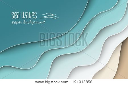 Abstract blue sea and beach summer background with curve paper wave and seacoast cropped with clipping mask for banner poster or web site design. Paper cut style space for text vector illustration