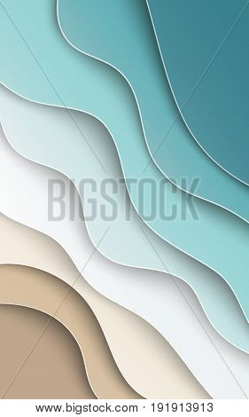 Abstract blue sea and beach summer background with curve paper waves seacoast cropped with clipping mask for banner flyer invitation poster or website design. Paper cut style vector illustration
