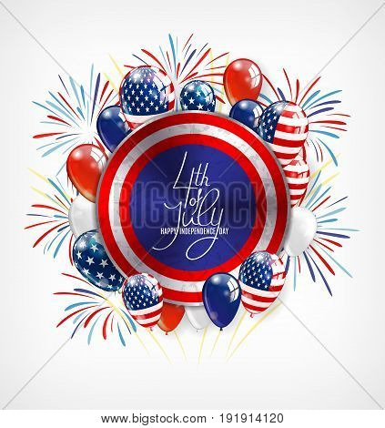 4th of July Independence Day greeting card , banner or invitation template. Round button with patriotic balloons and lettering. Vector illustration
