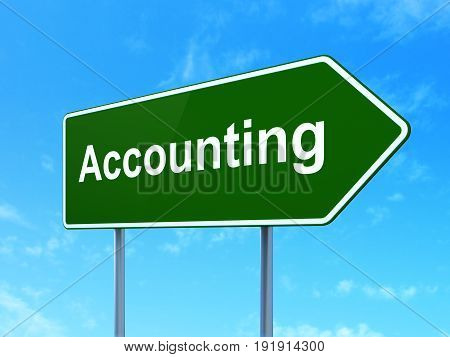 Currency concept: Accounting on green road highway sign, clear blue sky background, 3D rendering