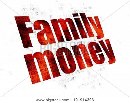 Banking concept: Pixelated red text Family Money on Digital background