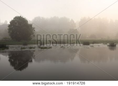 Summer river and coast scenery misty landscape