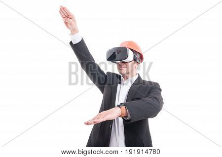 Foreman Hand Gesturing Wearing Virtual Reality Goggles