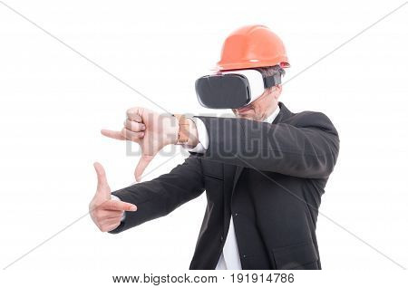 Foreman Gesturing Picture Wearing Virtual Reality Goggles