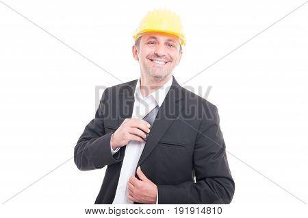 Foreman Wearing Yellow Hardhat Putting Wallet In His Jacket