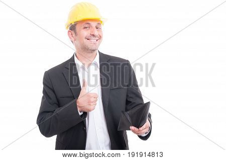 Foreman Wearing Yellow Hardhat Holding Wallet Showing Like
