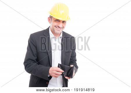 Foreman Wearing Yellow Hardhat Checking His Wallet
