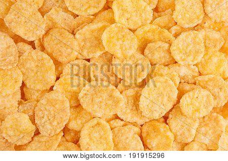 Golden corn flakes closeup background. Cereals texture.