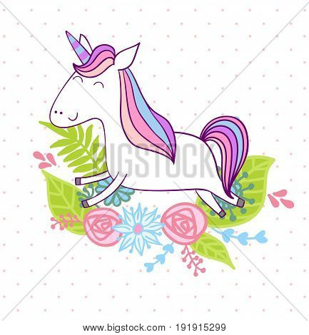 Magic cute unicorn with flowers. Vector greeting card.