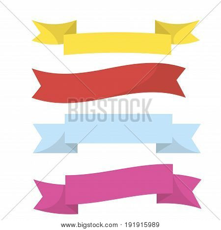 Realistic colorful ribbons isolated on white vector illustration in flat design. Yellow, red, blue and violet clothing or paper long thin lines for decorating present and other festival objects