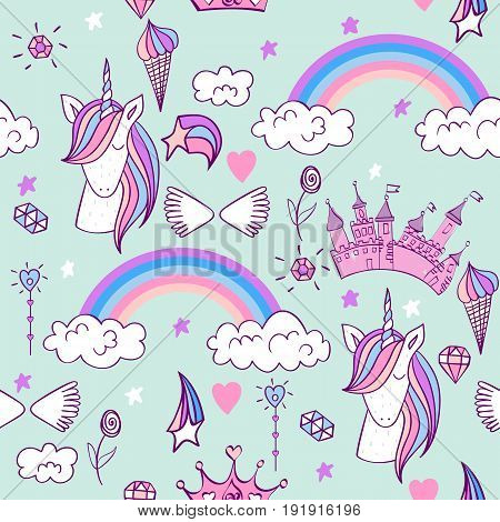 Magic cute unicorn with castle. Vector seamless pattern
