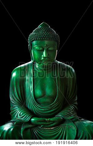 Calm Green Emerald Buddha, Peacful Asian Buddha Zen Tao Religion Art Style Statue.
