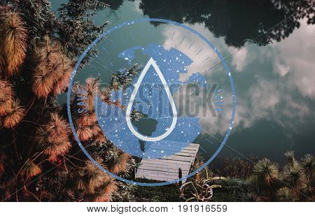 Save Water Droplet Graphic Circle Round Badge Vector