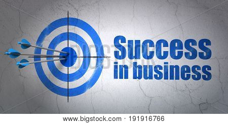 Success finance concept: arrows hitting the center of target, Blue Success In business on wall background, 3D rendering